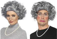 Granny Old Lady Grandma Grey Hair Wig Grandmother Wig Pearls Glasses Costume Kit