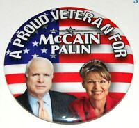 2008 VETERANS FOR JOHN MCCAIN SARAH PALIN campaign pin pinback button political