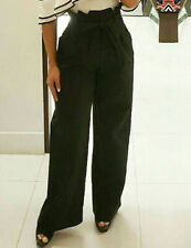 Black High Waist Paper Bag Wide Leg Trousers with Belt in Small Medium Large XL