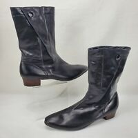 Vintage Saks Fifth Avenue Black Leather Mid Boots Made In England Size 8.5 N