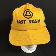 Vintage Bell Telephone East Team Snapback Mesh Hat Cap Blue Gold Small USA