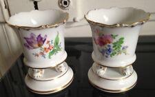 Jolie paire vases porcelaine fleurs marque aux épées Meissen Saxe