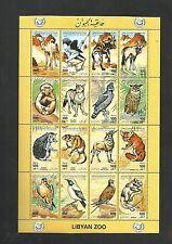 1995-Libya - Minisheet - Libyan Zoo- Wild life animals- Camel Birds Fox Jackal W