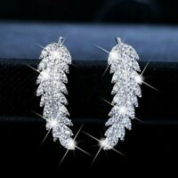 Gorgeous 925 Silver,Gold,Rose Gold Stud Earrings Women White Sapphire A Pair/set