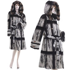 Mint! Large! Highest Grade Chinchilla Dyed Sheared Mink Fur Hooded & Belted Coat