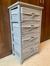 Large Grey Chest Of Drawers Storage Solution Wicker Baskets Wooden Furniture