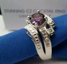New Avon Stunning COCKTAIL CZ Lavender Ring Size 5 Silver-Tone boxed