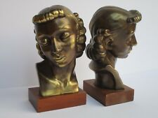 PAIR METAL WOOD SCULPTURE ART DECO WOMAN MODEL HEAD BOOKEND LARGE ANTIQUE MODERN
