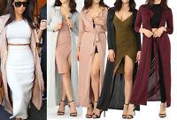 Womens Slinky Long Maxi Duster Coat Blazer Jacket Evening Xmas Party Cover Up