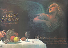 Original Vintage Poster Babette's Feast 1987 Film Polish Movie Food Surreal Art