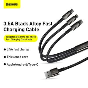 Baseus 3 in 1 USB To Apple Micro Type-C Multi 3.5A Fast Charging Cable Data Line