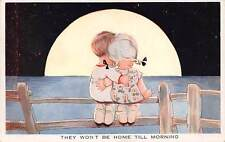 Signed M L Attwell c. 1910 Valentine's Young Boy & Girl Watch Moon, Series #A486