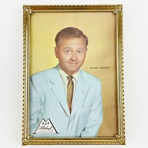 Vintage Metalcraft Gold 5 x 7 Picture Frame Mickey Rooney Stock Photo 1950s Ad