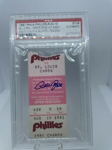 Pete Rose Signed Autographed Ticket Sets NL Hit Record