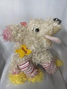 "Fancy Nancy Frenchy Poodle Dog 12"" Plush Stuffed Animal Curly White Pink"