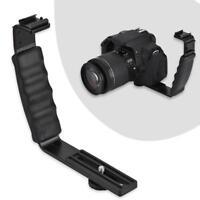 Aluminium Alloy 2 Hot Shoe Mount L-bracket For Video LED Light Camera Flash