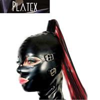 Platex Latex Rubber Bondage Cosplay Hood, Latex Ponytail & Rear Zip NEW RRP £150