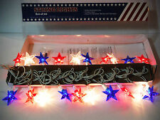 4TH OF JULY. PATRIOTIC DECOR STRING LIGHTS 20CT 12FT. STARS RED WHITE BLUE