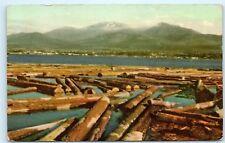 *Port Angeles Washington Juan de Fuca Straight Logging center Logs Postcard B99