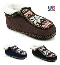 Womens Knit Fleece Fur Lined Bootie Slippers House Shoes Soft Non-Skid Winter