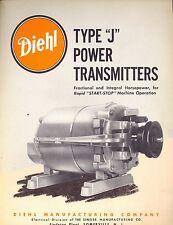 Type J Power Transmitters 1954 Brochure Diehl Mfg  Somerville  NJ Electric Motor