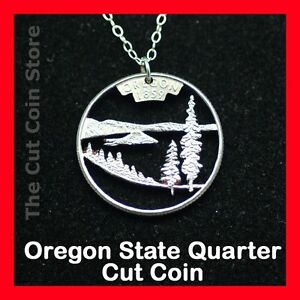 Oregon Crater Lake Cut Coin USA Quarter Hand Beaver State 25¢ Pendant Jewelry