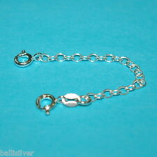 """Chain Extenders with 2 Spring Clasps 6 pieces Sterling Silver 925 3"""" Safety"""