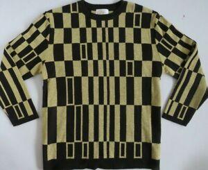 Vintage Lilly Of California Women's Sweater Geometric Retro Gold & Blk Medium