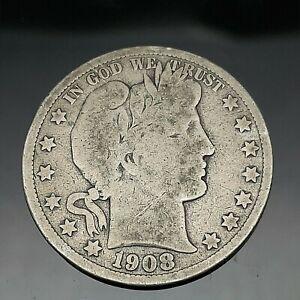 1908-O BARBER SILVER HALF DOLLAR US COIN.