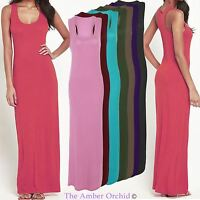 Womens Ladies Stretch Bodycon Long Maxi Dress Plain Racer Back Vest Sleeveless