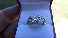 LADIES 14KT WHITE GOLD VINTAGE DIAMOND RING SIZE 8 21 Diamonds!