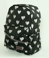 Mochila colegio Corazones plata con Bolsillo exterior School Backpack