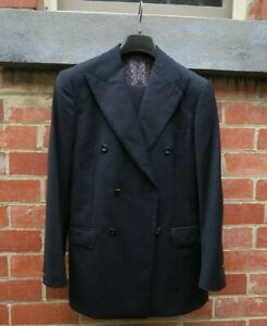 MTM Navy Double Breasted Jacket (6x2) Size 48 R with Milanese buttonhole.