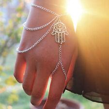 Donne asimmetrica mano di Hamsa braccialetto dito anello fortunato imbracatura m