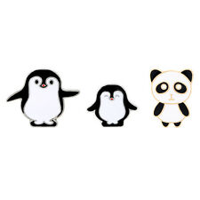 3pcs/Set Cartoon Panda Penguin Collar Pin Badge Brooch Garment Decorations