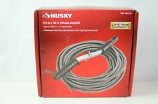 Husky Plumbing Snake Auger 50 Ft Drain Clog Cable 12 In Sewer Pipe Cleaner