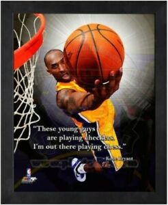 """Kobe Bryant Los Angeles Lakers NBA Pro Quotes Photo (Size: 9"""" x 11"""") Framed"""