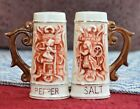 Vintage Beer Stein Mug Salt & Pepper Shakers Souvenir Hearth & Home Scenes Japan