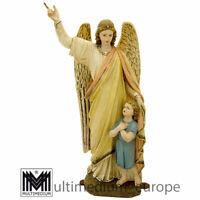 Schutzengel Figur Engel Kind Gips gefasst figure angel child 🌺🌺🌺🌺🌺