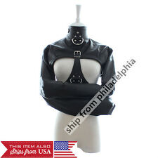 Leather Body Harness Bondage Cupless Long Sleeve Straight Jacket Gay Fetish Gimp
