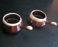 2 McCoy Brown Soup Bowl Handle Glazed Pottery Vintage Made in the USA 14 oz