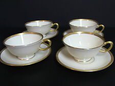 Lenox TUXEDO J-33 Cups and Saucers / Set of 4 / Gold Backstamp 1st Quality