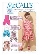 McCall's Sewing Pattern M7309 SZ 2-5 Children's/Girls' Handkerchief-Hem Dresses