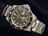 Mens Rolex Submariner Date Stainless Steel Watch Black Dial & Bezel Sub 16610