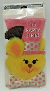 """Vintage """"It's Party Time!"""" Yellow Bunny w/ Pink Top Hat & Bowtie Invitations New"""