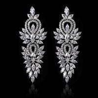 All AAA Cubic Zirconia CZ Pierced Earrings Wedding Party Prom Pageant 4.3cm Long