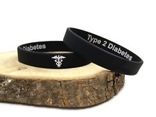 Type 2 Diabetes Hidden Message Wristband Medical Alert Bracelet Diabetic Band T2