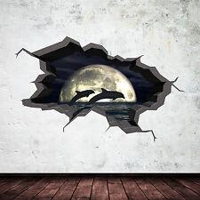 Couleur Complète 3D Aquarium Dauphin Nuit Cave Fissuré 3D