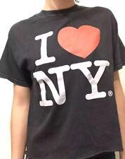 New! Brandy Melville I Heart New York Love Black Wash Aleena Crewneck Shirt Top
