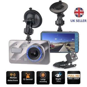 4'' HD 1080P In Car DVR Dual Lens Dash Cam Video Camera Recorder Night Vision UK